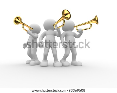 3d people - human character , person with a trumpet.  3d render