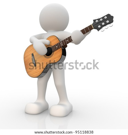 3d people - human character, person with acoustic guitar. Guitarist. 3d render illustration
