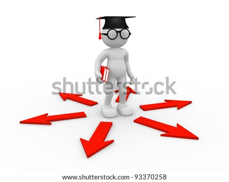 3d people - human character , person with books , graduation cap and arrows. Confusion ( nerd , student ) . 3d render