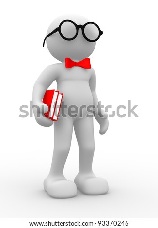 3d people - human character , person  with bow tie and books. 3d render