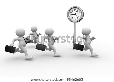 3d people - human character, person with briefcase and a clock. Businessman. 3d render