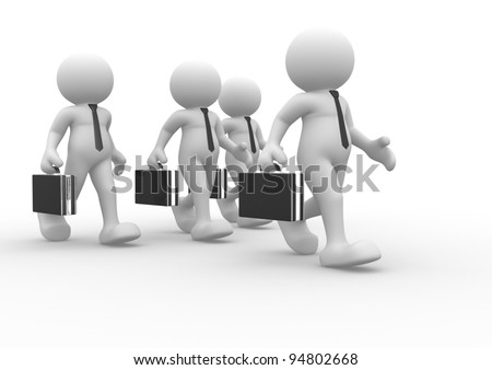 3d people - human character, person with briefcase and tie. Businessman. Teamwork. 3d render
