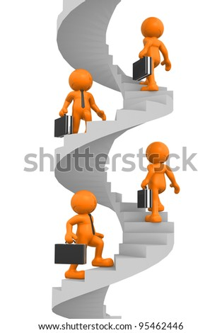 3d people - human character, person with briefcase - climb the spiral staircase - stair. Businessman. 3d render