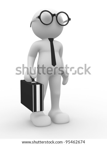 3d people - human character, person with eyeglasses and tie. Businessman with briefcase. Accounting. 3d render
