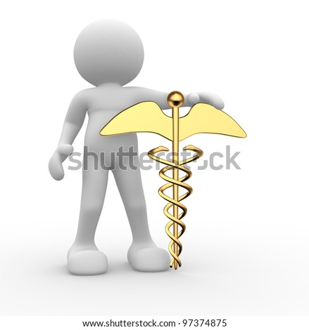 3d people - human character , person with golden symbol of caduceus. 3d render