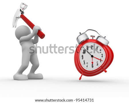 3d people - human character, person with hammer and a alarm clock. 3d render