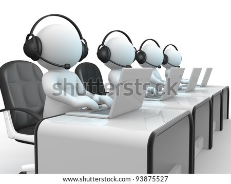 3d people - human character , person with headphone and a laptop. Call center.  3d render illustration
