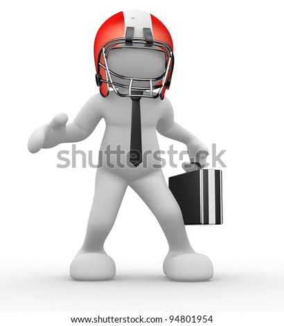 3d people - human character, person with helmet and a  briefcase. American football player and businessman. 3d render