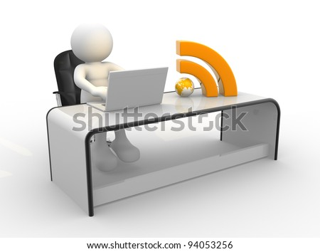 3d people - human character , person with laptop and RSS symbol at a office. 3d render illustration