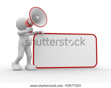 3d people - human character , person with megaphone and blank board. 3d render