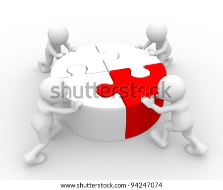 3d people - human character , person  with piece of puzzle. ( jigsaw).  3d render - stock photo