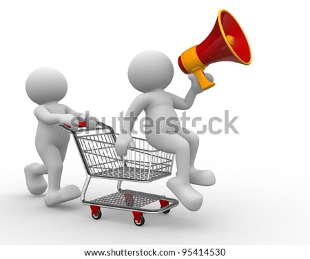 3d people - human character, person with shopping cart and a megaphone. 3d render