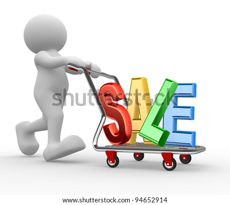 "3d people - human character, person with shopping cart and word ""sale"". 3d render"