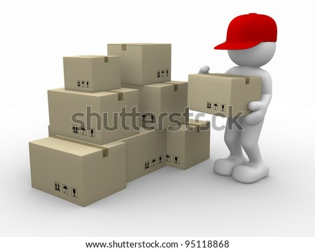 3d people - human character, person with stacking cardboard boxes. Postman. 3d render