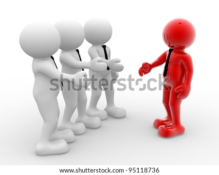 3d people - human character, person with tie. Businessman handshake. Partnership. 3d render
