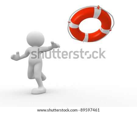 3d people - human character rescuer with lifebuoy . 3d render illustration