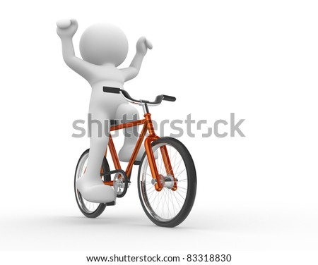 3d people - human character  - running on bicycle. 3d render illustration