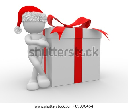3d people - human character Santa Claus with box of gifts. 3d render illustration
