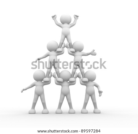 3d people - human character sit in the pyramid. 3d render illustration