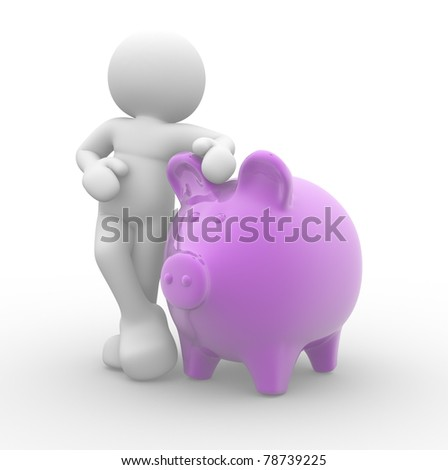 3d people, human character supported and piggy bank - 3d render illustration