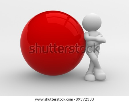 3d people -human character supported by a blank sphere. 3d render illustration