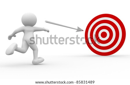 3d people human character throwing arrow at target. 3d render illustration