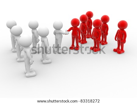 3d people - human character - two team shaking hands. 3d render illustration