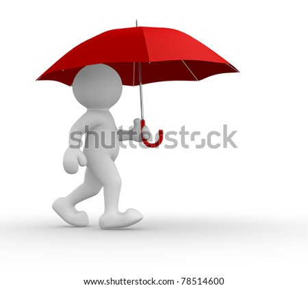 3d people-human character under red umbrella- This is a 3d render illustration