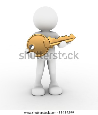 3d people - human character with a golden key in hand. 3d render illustration