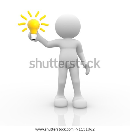 3d people- human character with a light bulb - 3d render illustration