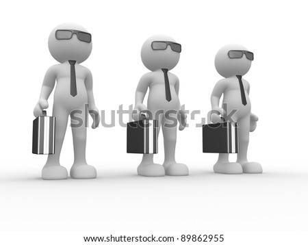 3d people - human character with briefcase and sunglasses. 3d render illustration