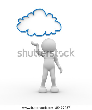 3d people- human character with cloud over the head. 3d render illustration