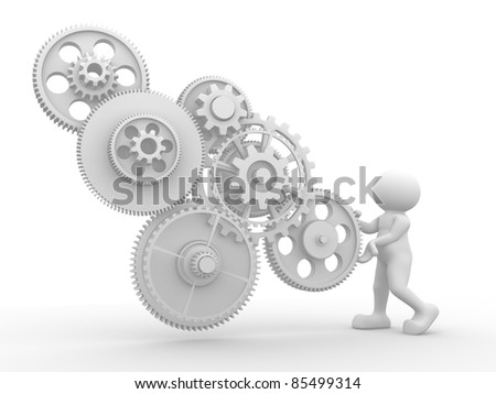 3d people - human character  with gear mechanism. 3d render illustration