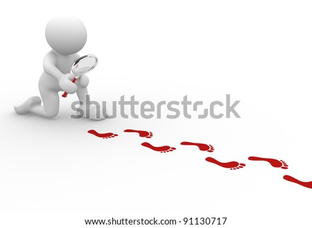 3d people - human character  with magnifier and footprints  .  3d render illustration
