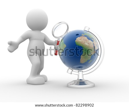 3d people- human character with magnifying glass searching globe. This is a 3d render illustration