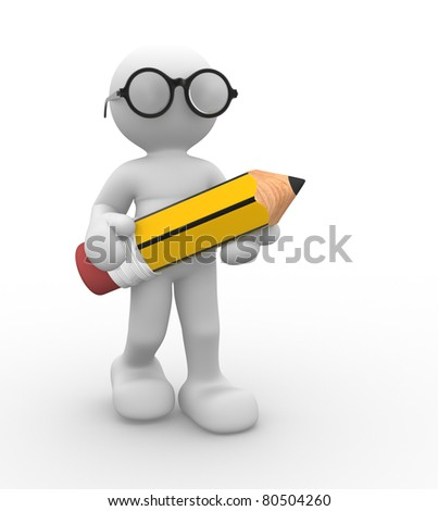 3d people- human character with pencil and glasses. This is a 3d render illustration
