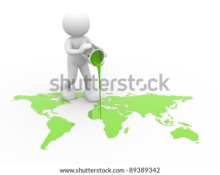 3d people - human character with the world map - This is a 3d render illustration