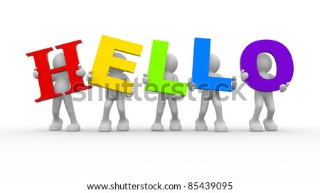 "3d people -human character with word"" hello"". 3d render illustration"