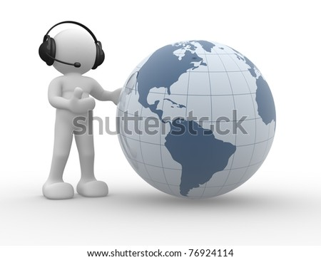 3d people icon and the earth globe. This is a 3d render illustration