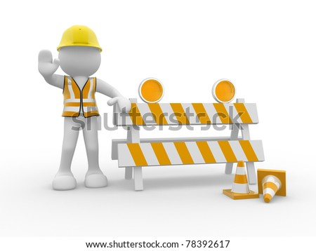 3d people icon and under construction - This is a 3d render illustration - stock photo