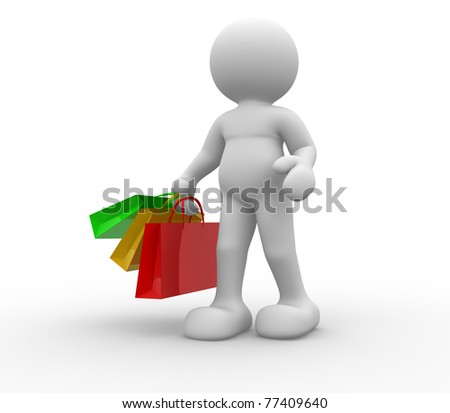 3d people icon carrying packages -This is a 3d render illustration