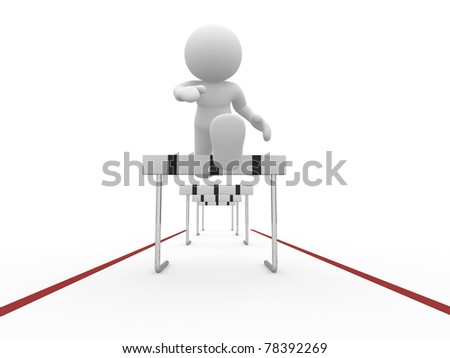 3d people icon  jumping over a hurdle obstacle  - This is a 3d render