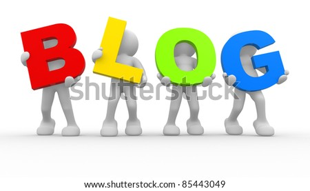 """3d people icon the word """"blog""""- This is a 3d render illustration"""