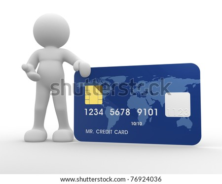 3d people icon with a credit card on a white background- This is a 3d render illustration