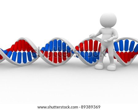 3d people icon with DNA structure. This is a 3d render illustration