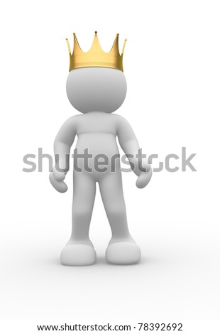 3d people icon with royal crown - This is a 3d render illustration - stock photo