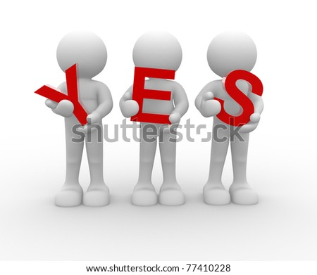 3d people icon with 'yes' symbol This is a 3d render illustration