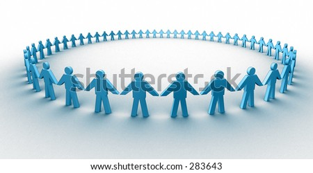 3d people in a huge circle