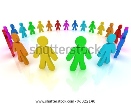 3d people in circle