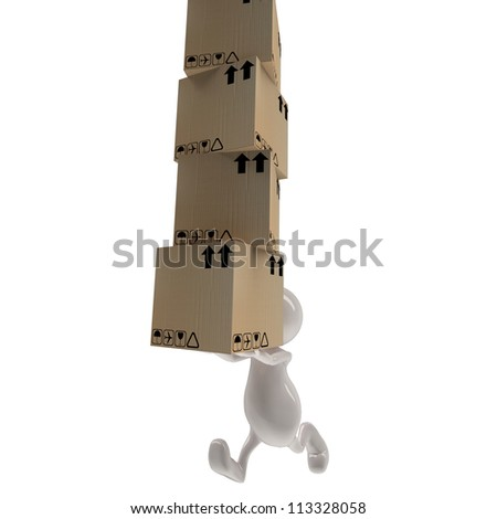 3d people man delivering cardboard boxes - stock photo